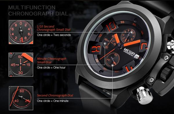Crown Chronograph Military Watch chronograph function
