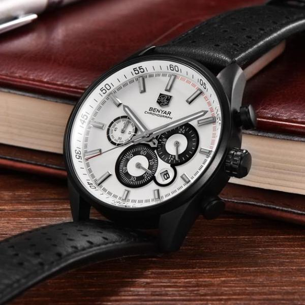 Wilder Leather Chronograph Watch with white dial