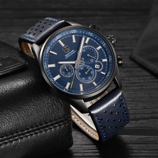 Front image blue Wilder Leather Chronograph Watch