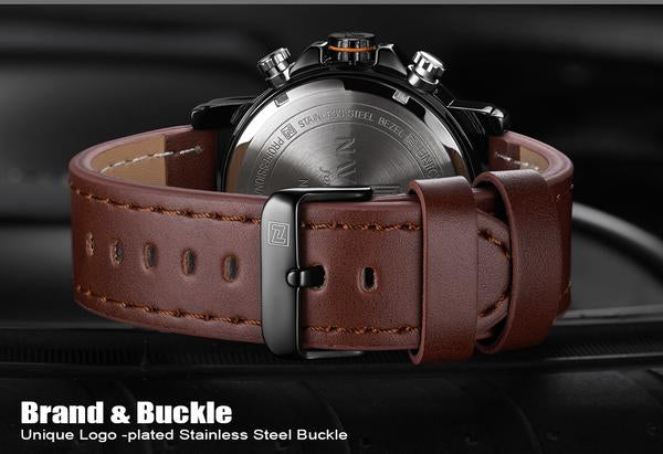 Back Marines Military Brown Leather Strap Watch