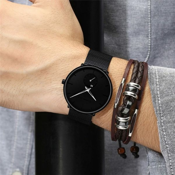 Man wearing Finiera Ultra Thin Dress Watch with silver markers on wrist
