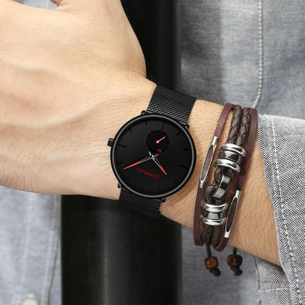 Man wearing Finiera Ultra Thin Dress Watch with red markers on wrist