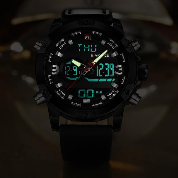 Front image Torpedo Analog Digital Military Watch shows luminous function