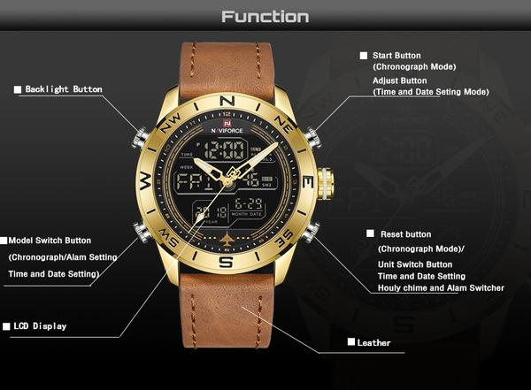 Compass Analog-Digital Military Watch Function