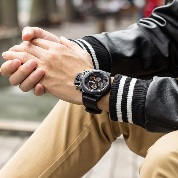 Man wearing Crown Chronograph Military Watch on wrist