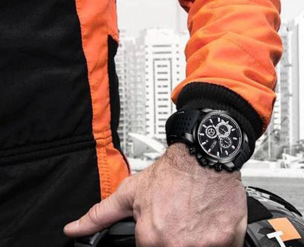 men wearing black color Mersel Silicone Fashion Watch on the wrist