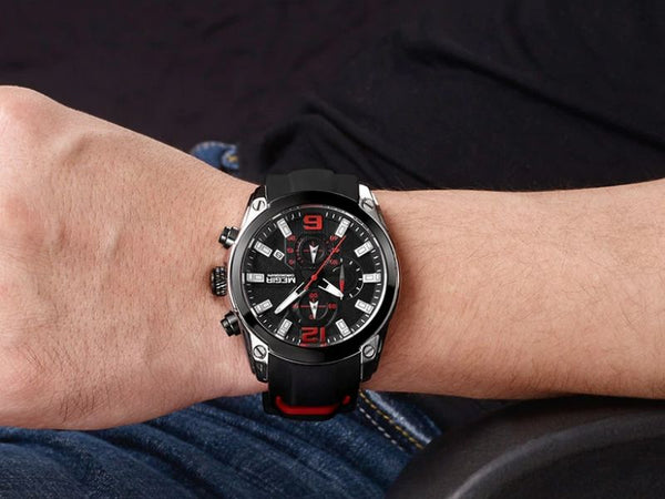 men wearing black storm military sports silicone watch on the wrist