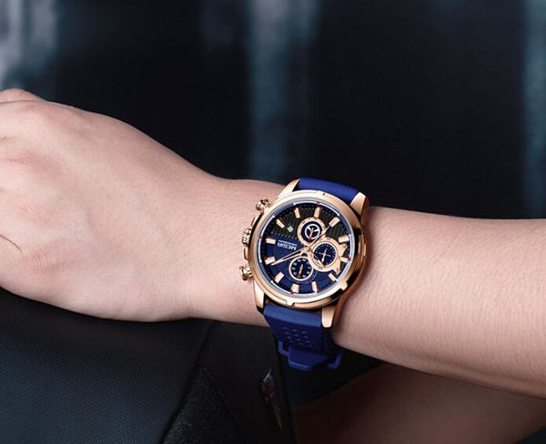 men wearing blue color Mersel Silicone Fashion Watch on the wrist
