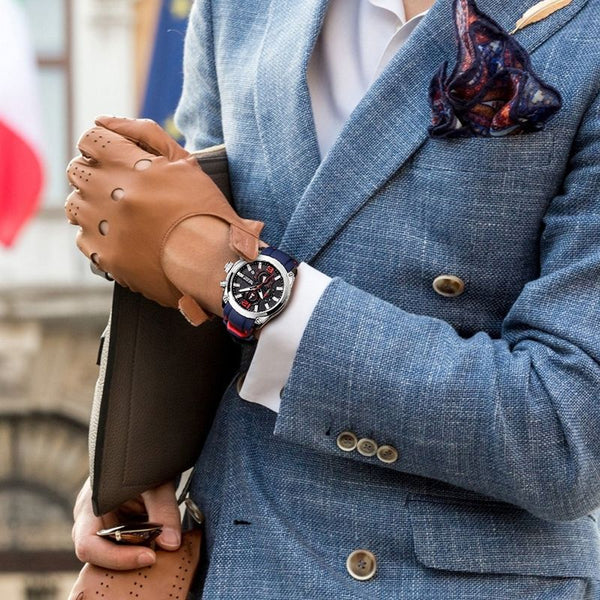 men wearing Storm Chronograph Military Watch on the wrist