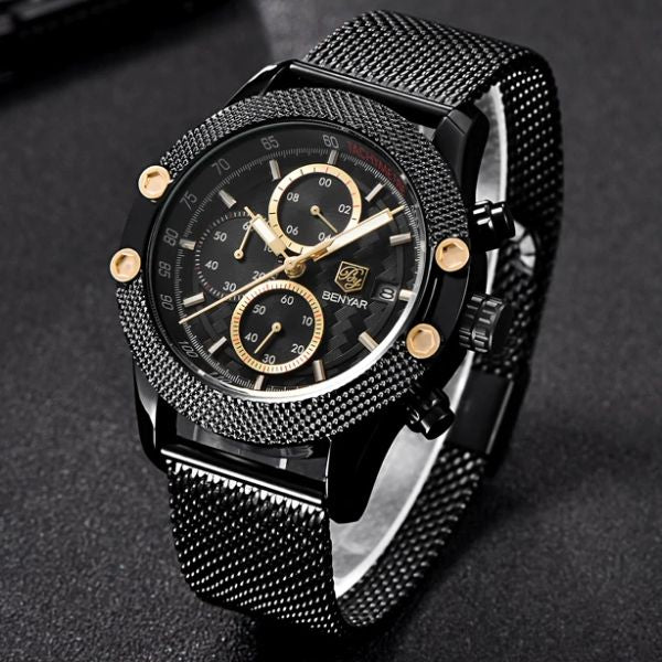 Front image black Obelisk Chronograph Stainless Steel Watch with red markers in gray background