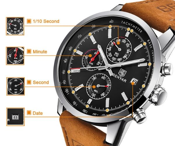 Front-facing image Grandio Chronograph Watch show detail function