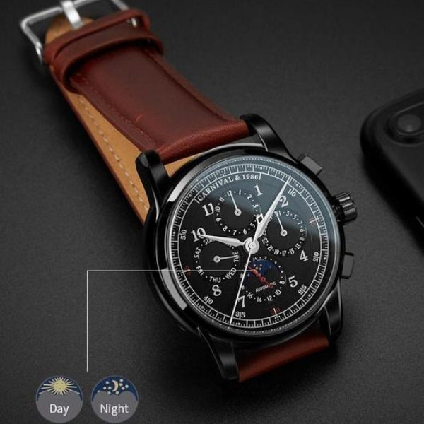 Rosewood Vintage Mechanical Watch moon phase