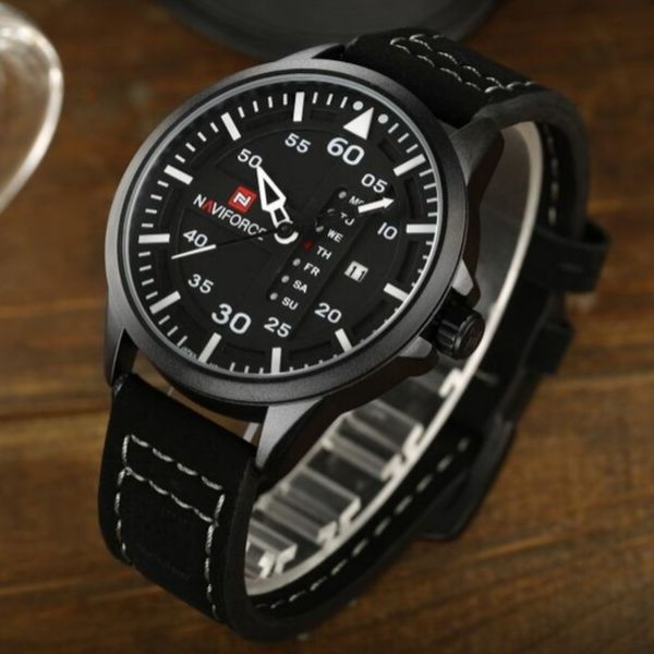 Admiral Quartz Leather Watch - Black