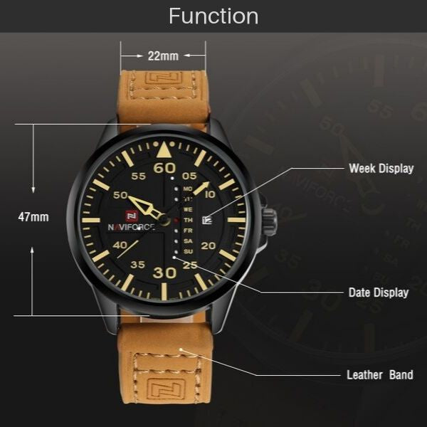 Admiral Quartz Leather Watch - Function