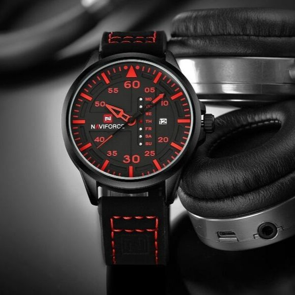 Admiral Quartz Leather Watch - Red