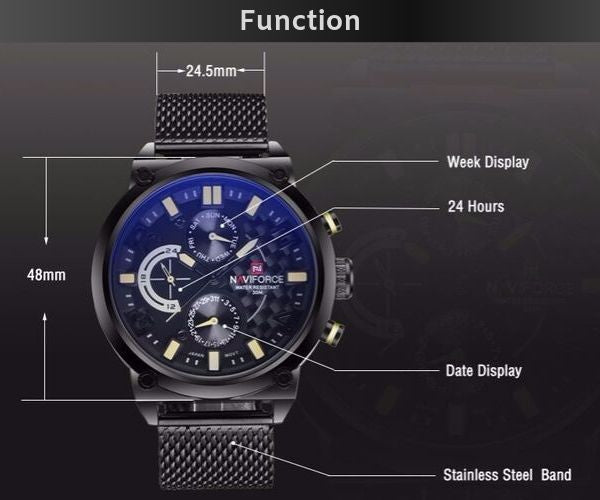 Vector Stainless Steel Chronograph Watch - Function