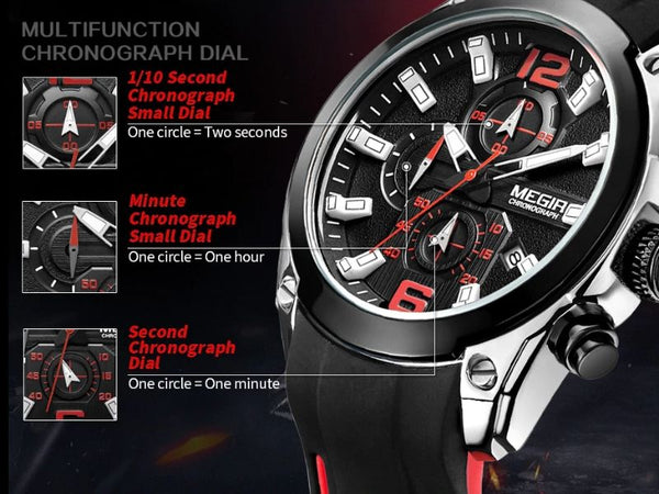 storm military sports silicone watch chronograph function