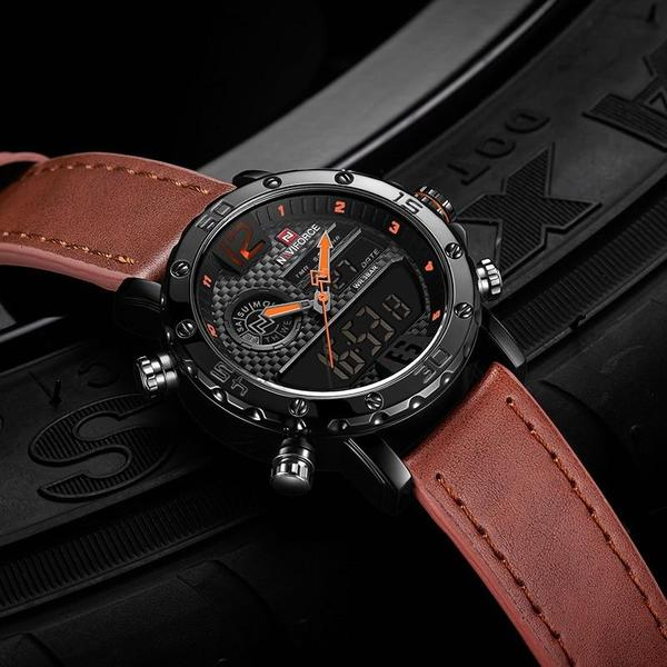 Marines Military Brown Leather Strap Watch