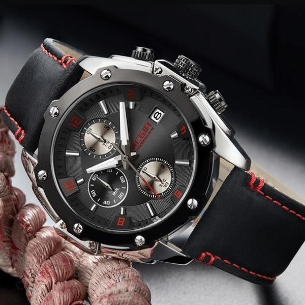 Detonate Leather Strap Chronograph Watch