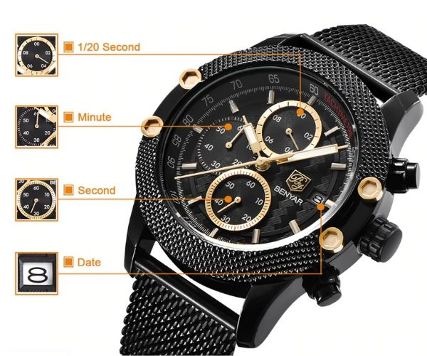 Obelisk Chronograph Stainless Steel Watch function