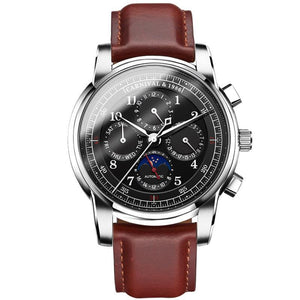 Front image Rosewood Automatic Vintage Watch with silver case in white background