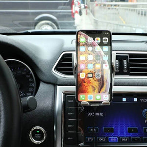Automatic Clamping Wireless Car Charger Mount Silver Color - BringWish