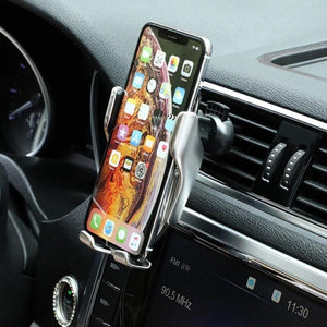 Automatic Clamping Wireless Car Charger Mount Silver Color