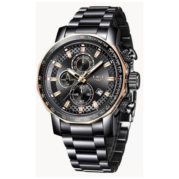 Front facing image black Darek Waterproof Stainless Steel Watch in white background