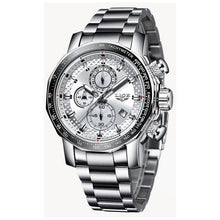 Load image into Gallery viewer, Front facing image silver Darek Waterproof Stainless Steel Watch in white background