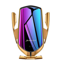 Load image into Gallery viewer, Gold Automatic Clamping Wireless Car Charger Mount