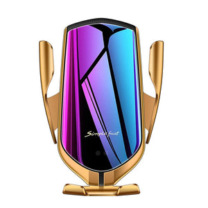 Gold Automatic Clamping Wireless Car Charger Mount