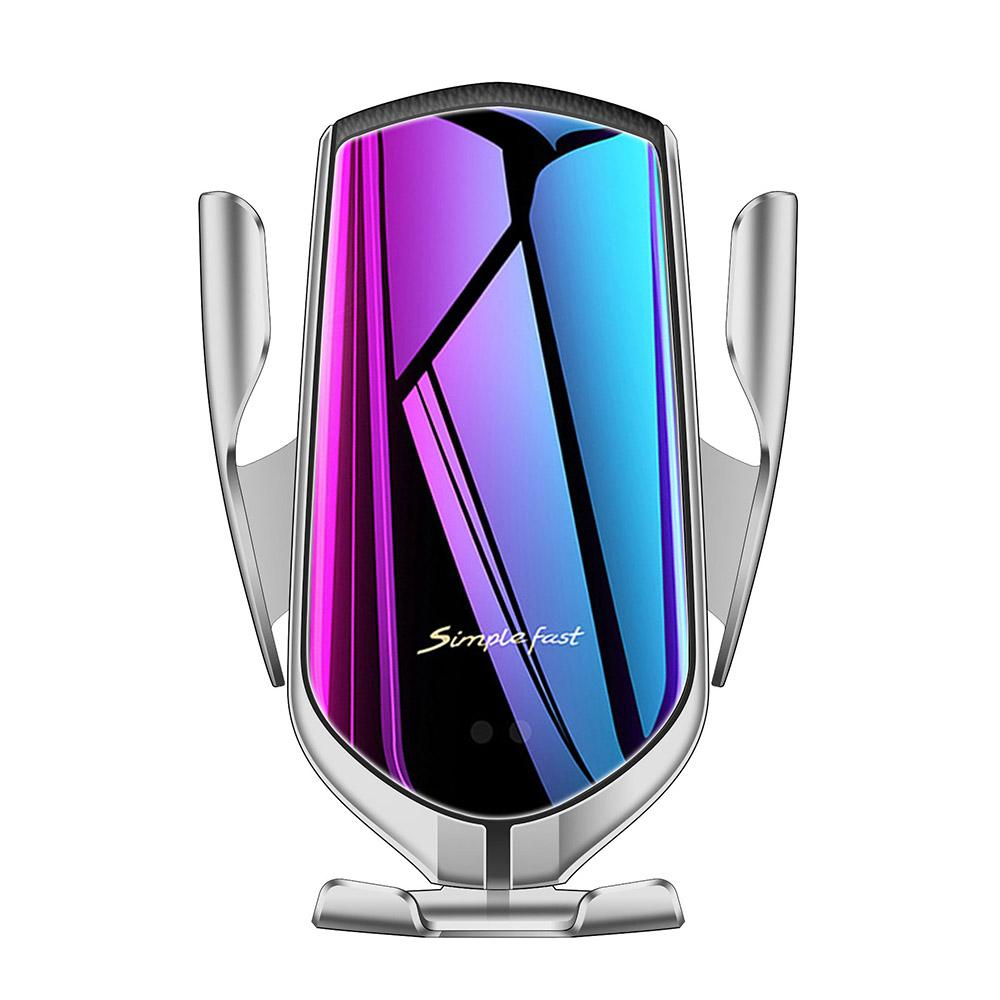 Silver Automatic Clamping Wireless Car Charger Mount