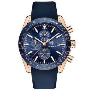 Front image gold-blue Tazero Chronograph Wrist Watch For Men in white backgound