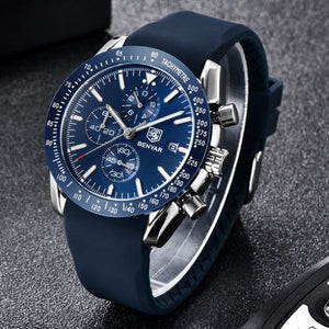Front image silver-blue Tazero Chronograph Wrist Watch For Men in white backgound