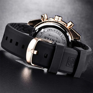 Back image gold-black Tazero Chronograph Wrist Watch For Men in white backgound