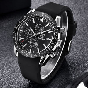 Front image silver-black Tazero Chronograph Wrist Watch For Men in white backgound