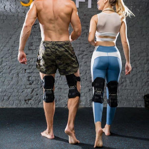 men and women wear the Power Knee Stabilizer Pads