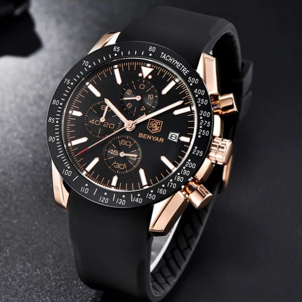 Front image gold-black Tazero Chronograph Wrist Watch For Men in white backgound
