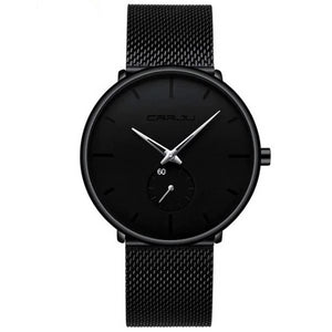 Finiera Black Steel Mesh Watch - Silver