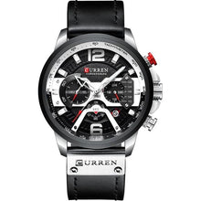 Load image into Gallery viewer, Acerot Men's Leather Chronograph Watch - Black and Silver