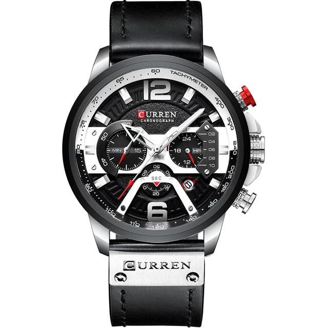 Acerot Men's Leather Chronograph Watch - Black and Silver