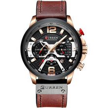 Load image into Gallery viewer, Acerot Men's Leather Chronograph Watch - Black and Brown