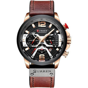 Acerot Men's Leather Chronograph Watch - Black and Brown