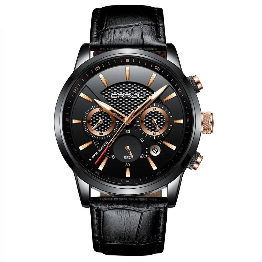 Front image black-gold Magent Men's Analog Quartz Wrist Watch in white background