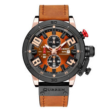 Load image into Gallery viewer, Numezo Men's Fashion Leather Watch - Orange