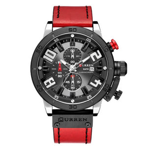 Numezo Men's Fashion Leather Watch - Red