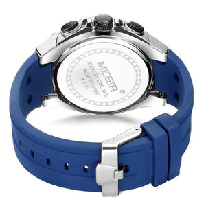 Back image Blue Holez Mens Waterproof Sports Watch in white background