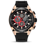 Front image Black and Rose Gold Holez Mens Waterproof Sports Watch in white background
