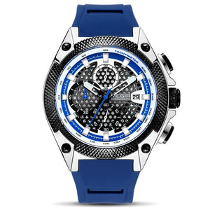 Front image Blue Holez Mens Waterproof Sports Watch in white background