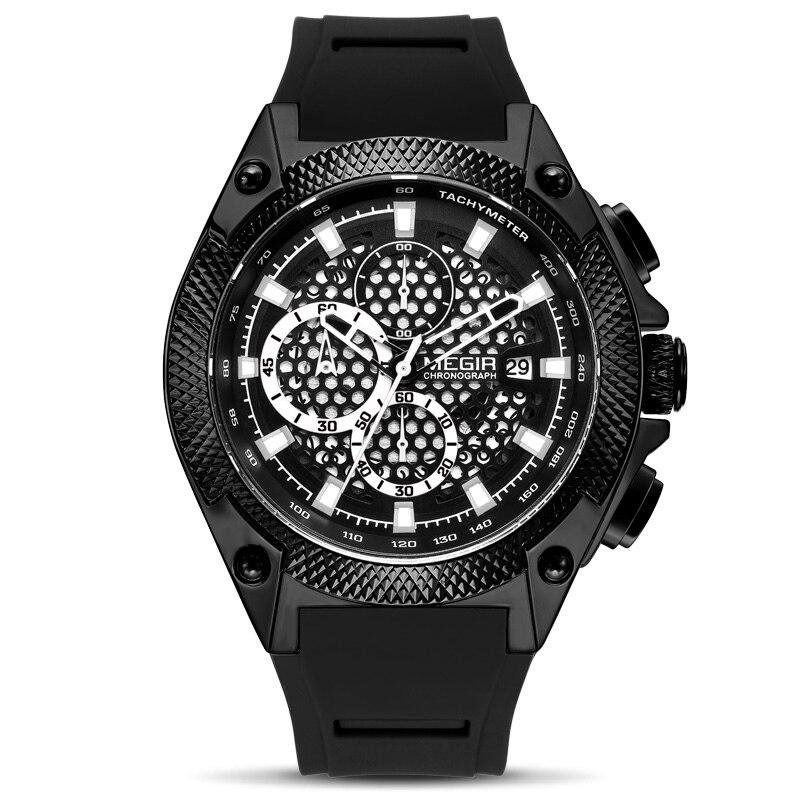 Front image Black Holez Mens Waterproof Sports Watch in white background